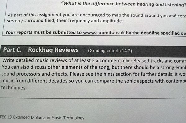 Rockhaq hits more BTEC Music Units