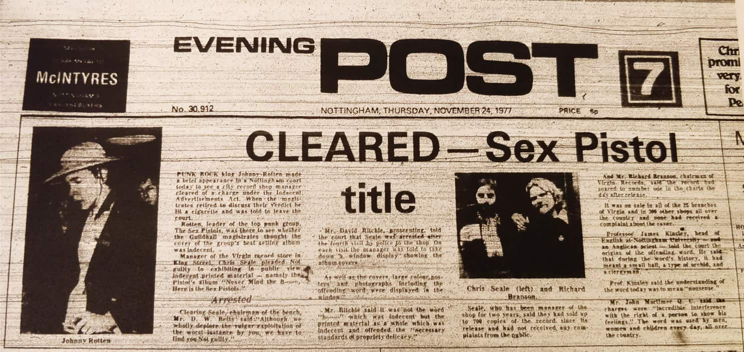 Retrospective: The Sex Pistols Indecency Trial, Nottingham, 24 November 1977
